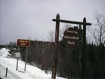 Adk Park sign on the Ohio-Norway town line